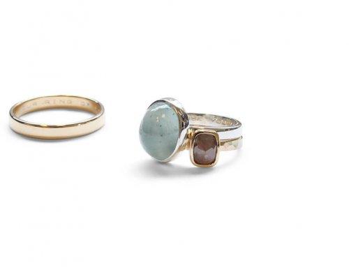 Grof gevijlde ringen – Aquamarijn en roosdiamant